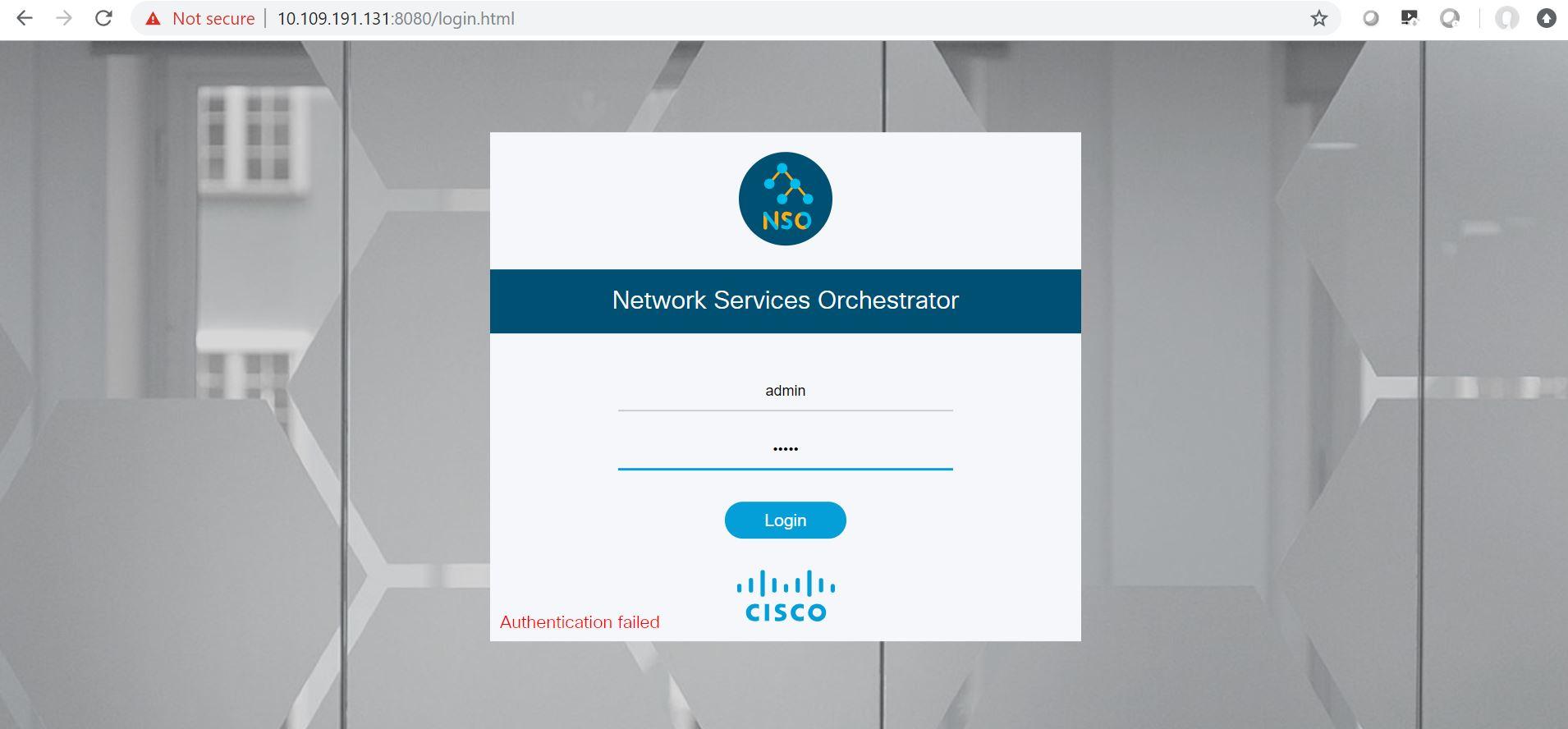 default UI login/password for free NSO     - Cisco Community