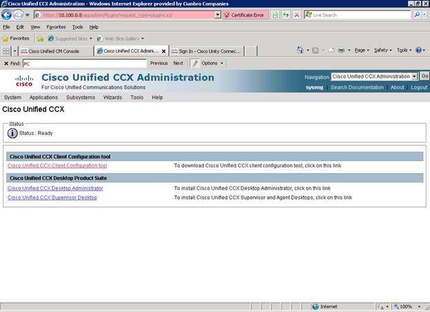 Solved: UCCX 9 0(2) No Link to download CAD - Cisco Community