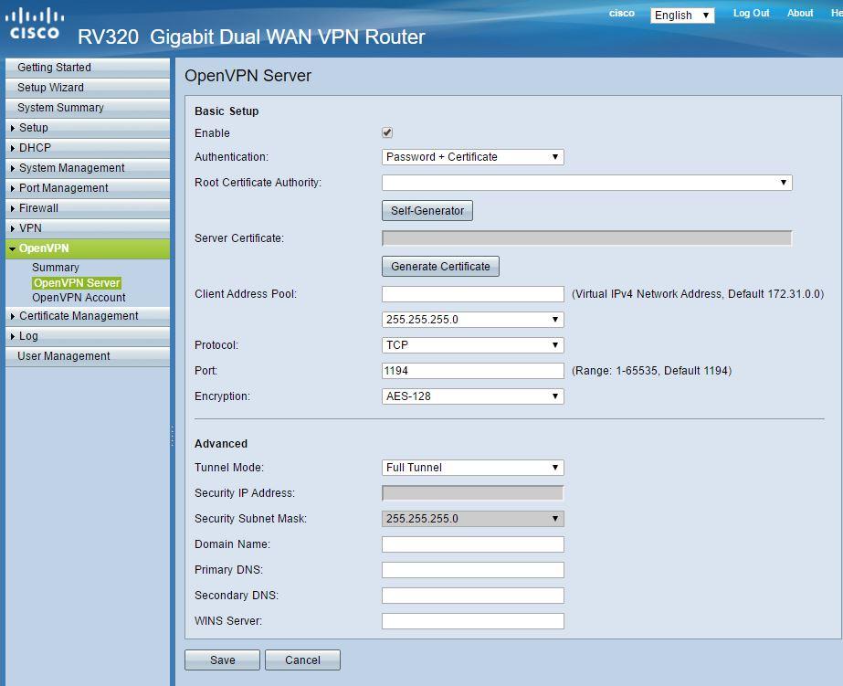 Solved: How to configure CISCO RV320 OPENVPN in    - Cisco