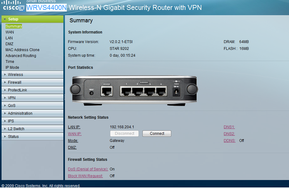 Firmware upgrade on wrvs4400n wireless-n gigabit security router.