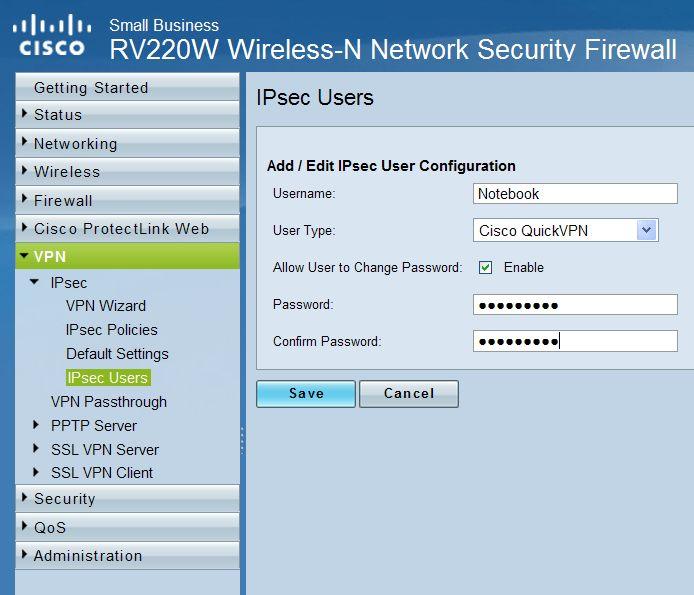 Setup vpn cisco rv220w router