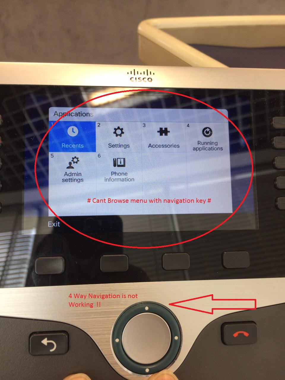 Solved: 8841 ip phone - 4 way navigation not wo    - Cisco