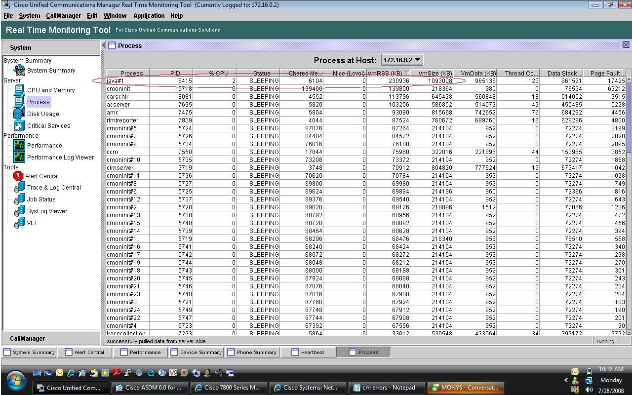 Solved: Java process huge memory usage - Cisco Community