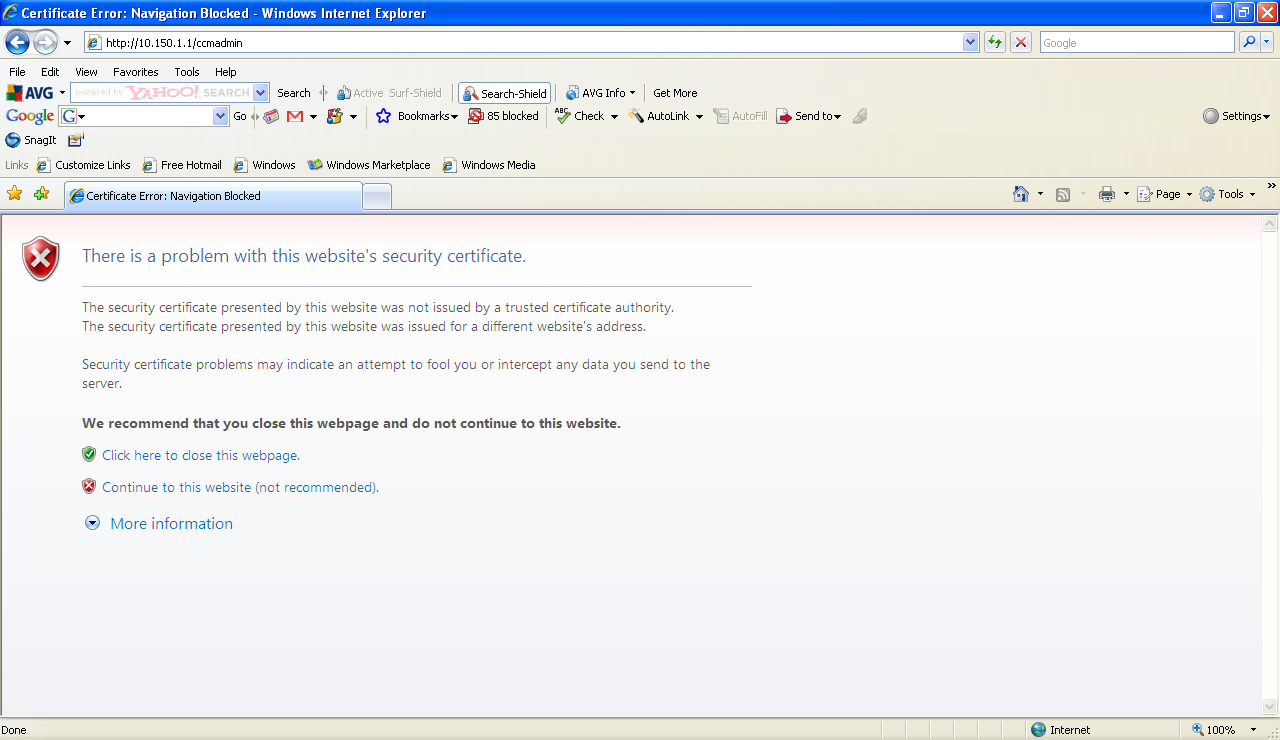Cucm There Is A Problem With This Websi Cisco Community