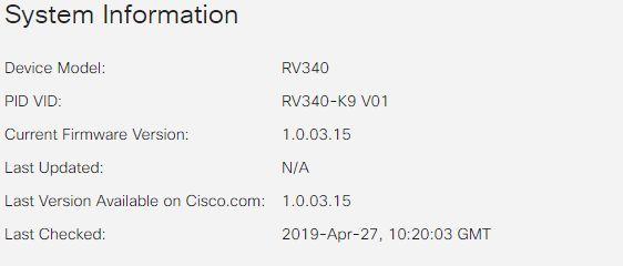 Solved: RV340 Firmware upgrade warning icon - 1    - Cisco
