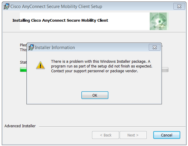 Cisco anyconnect vpn client windows 10 issues
