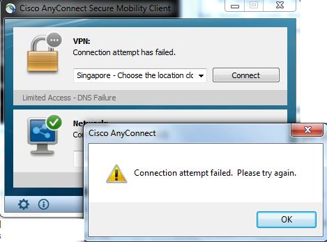 cisco anytime connect login failed