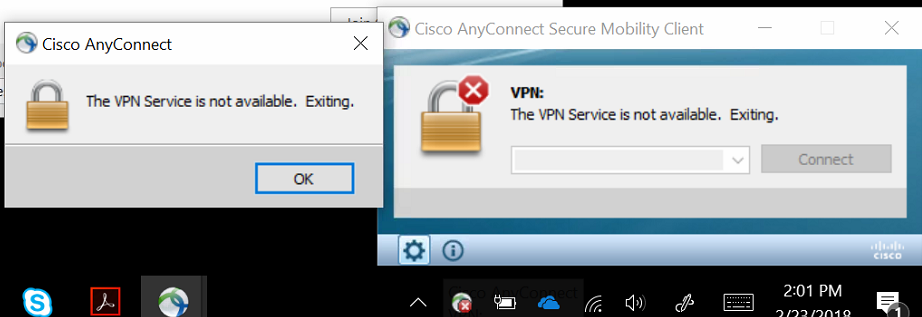 VPNERROR 1 - Vpn Service Is Not Available Exiting Cisco