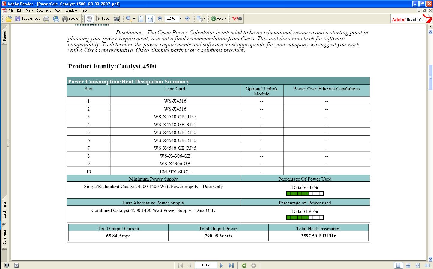 Power Calculator for Cat4510R - Cisco Community
