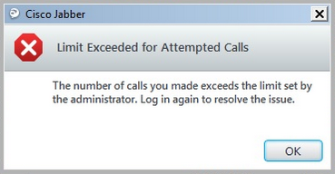 Limit exceeded for attempted calls - Cisco Community