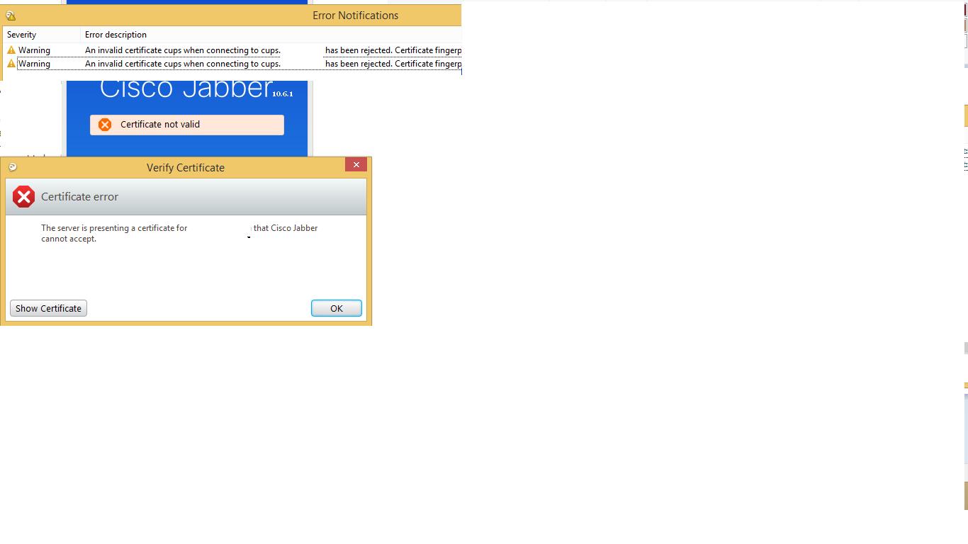 Solved: Cisco jabber for windows certificate er    - Cisco
