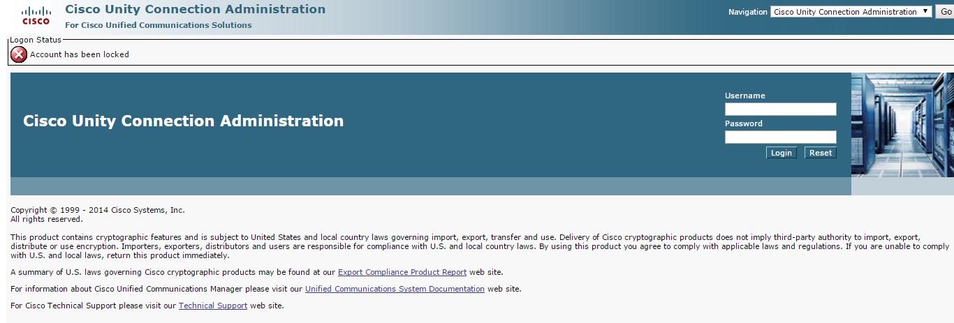 Unity 10 5 administrator account locked - Cisco Community