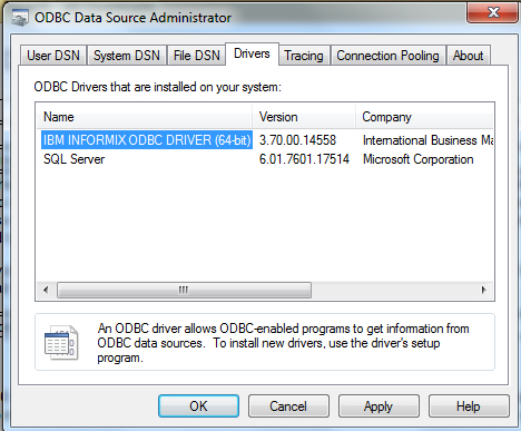 IBM INFORMIX ODBC WINDOWS 7 64 DRIVER