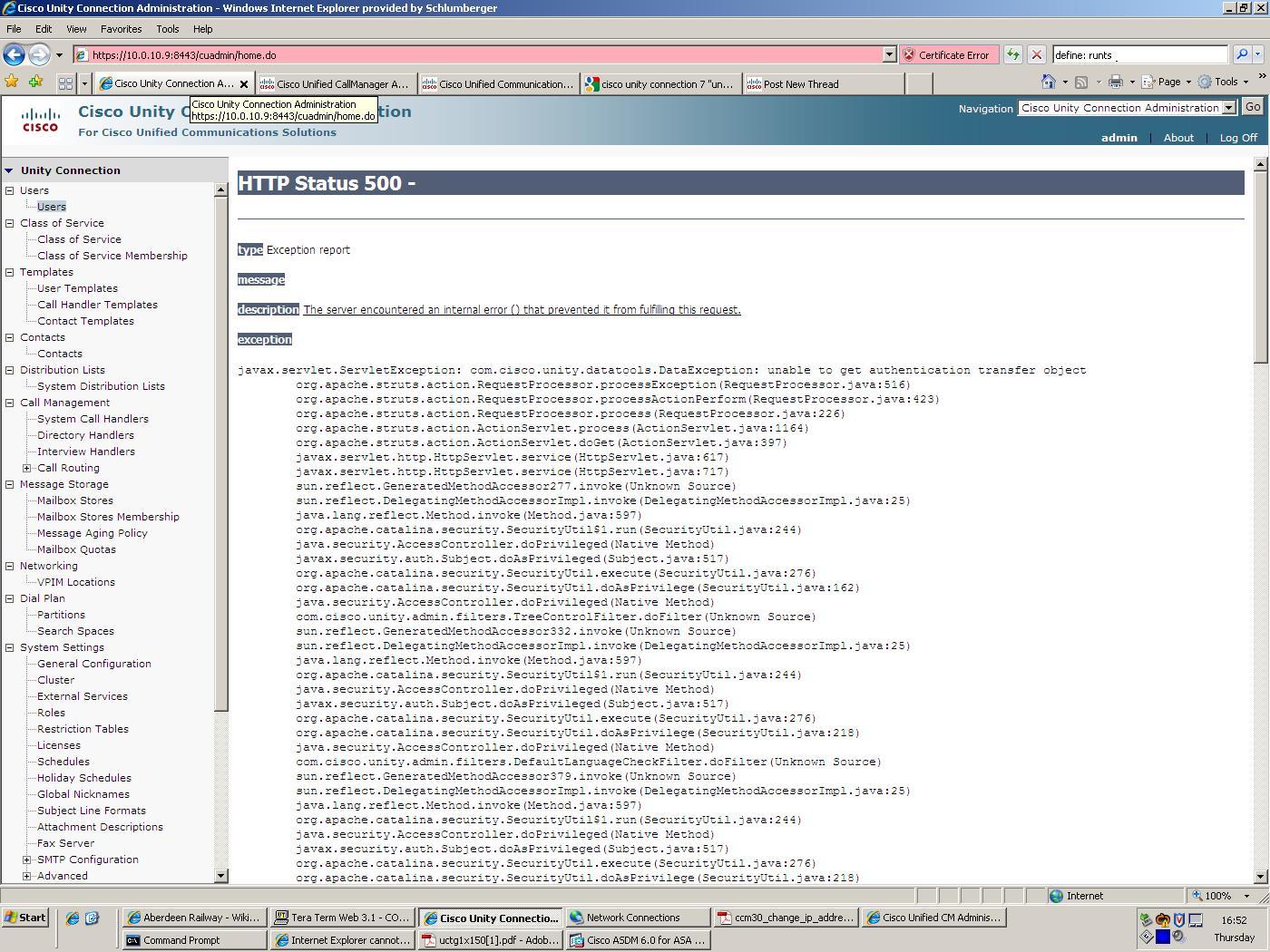Tomcat Internal Error Http Status 500 Cisco Community