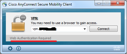 cisco anyconnect mac web authentication required