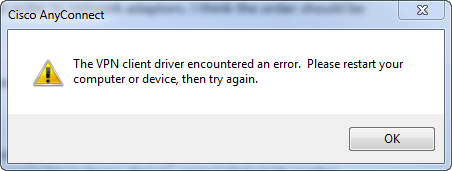 the vpn client driver encountered an error