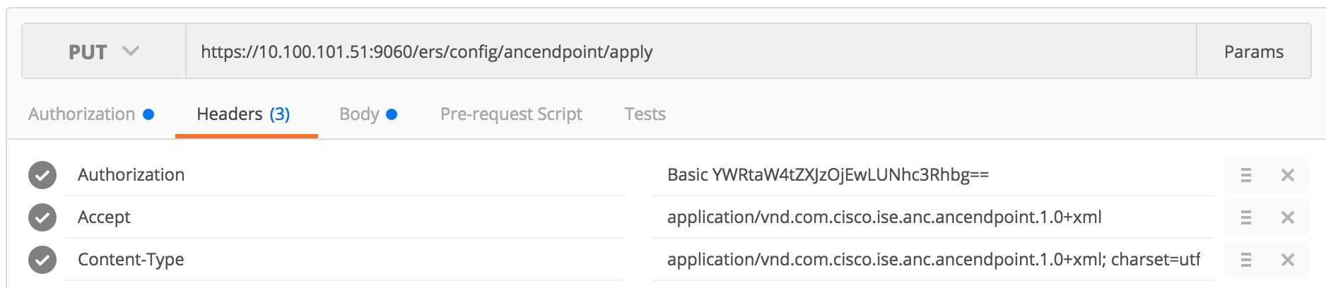 Solved: ISE REST API - how to apply an ANC poli    - Cisco Community