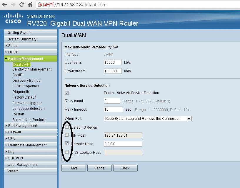 WAN Failover with RV320 not working - Cisco Community