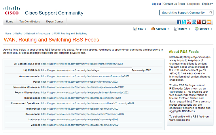 WAN Routing and Switching RSS Feeds on the Cisco Support Community
