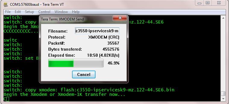 Loading an IOS on a switch via Xmodem - Cisco Community