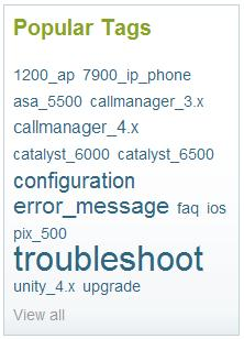 Popular Tags on the Cisco Support Community