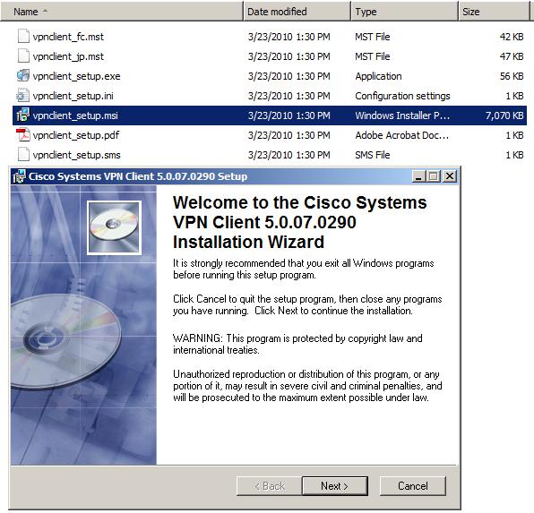 cisco vpn client 5.0 07  free