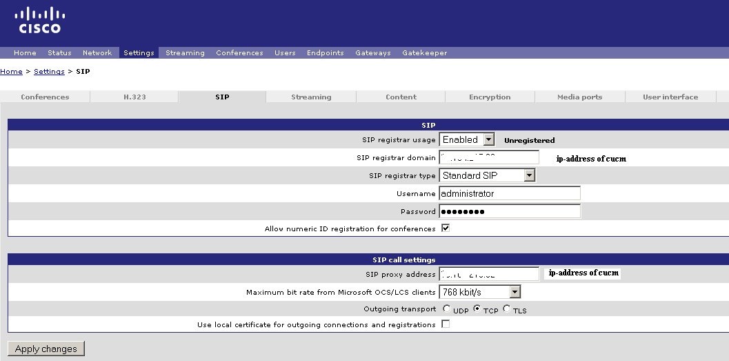CUCM 8 6 Multipoint calls to endpoints of TP - eehelp com