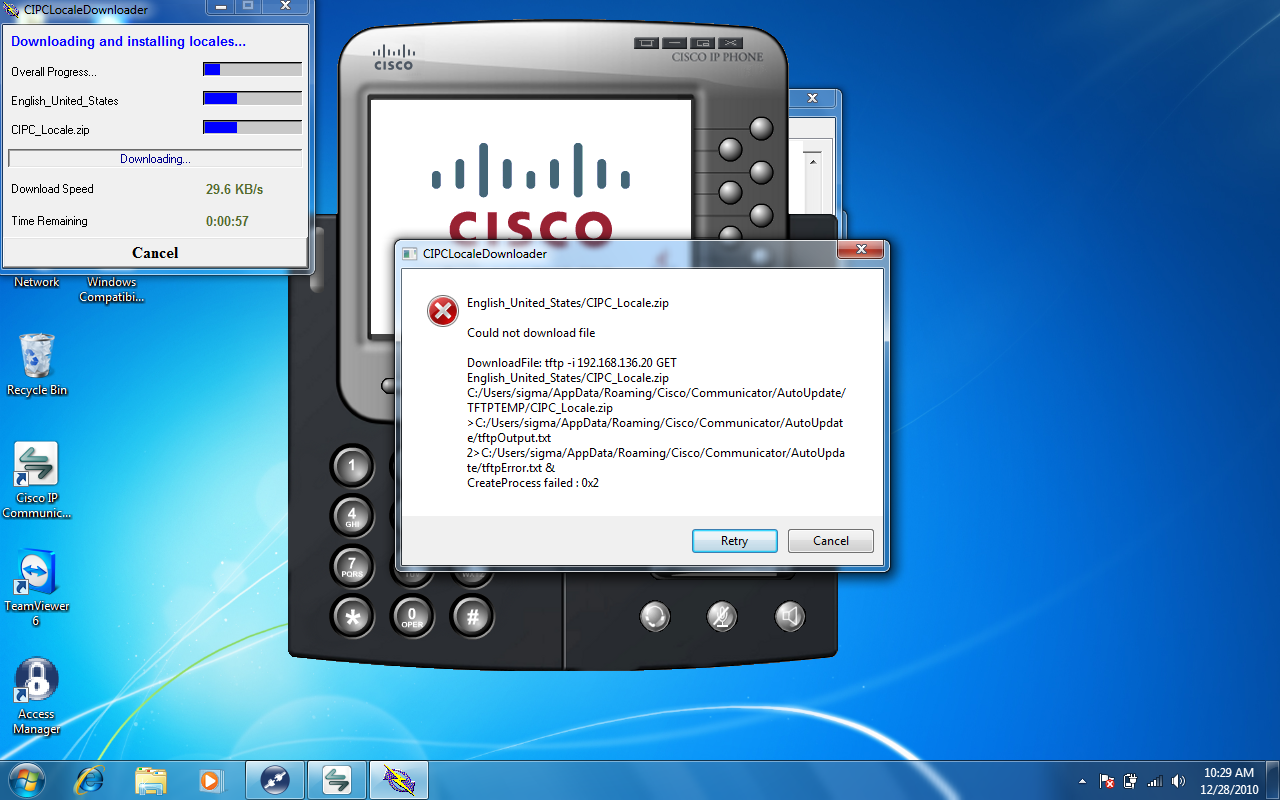 Cisco Ip Phone 7911 error Updating locale