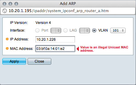 Manual multicast ARP entry for SG300 - Cisco Community