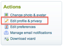 Actions on the Cisco Support Community - Edit Profile and Privacy