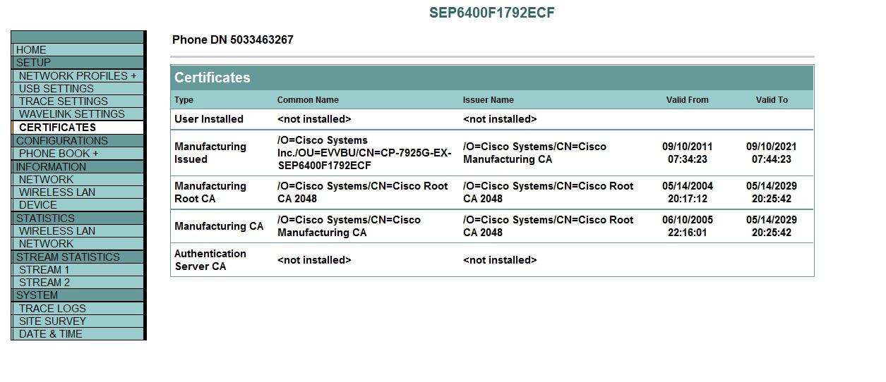 Exporting Manufacturing Root Certificat Cisco Community
