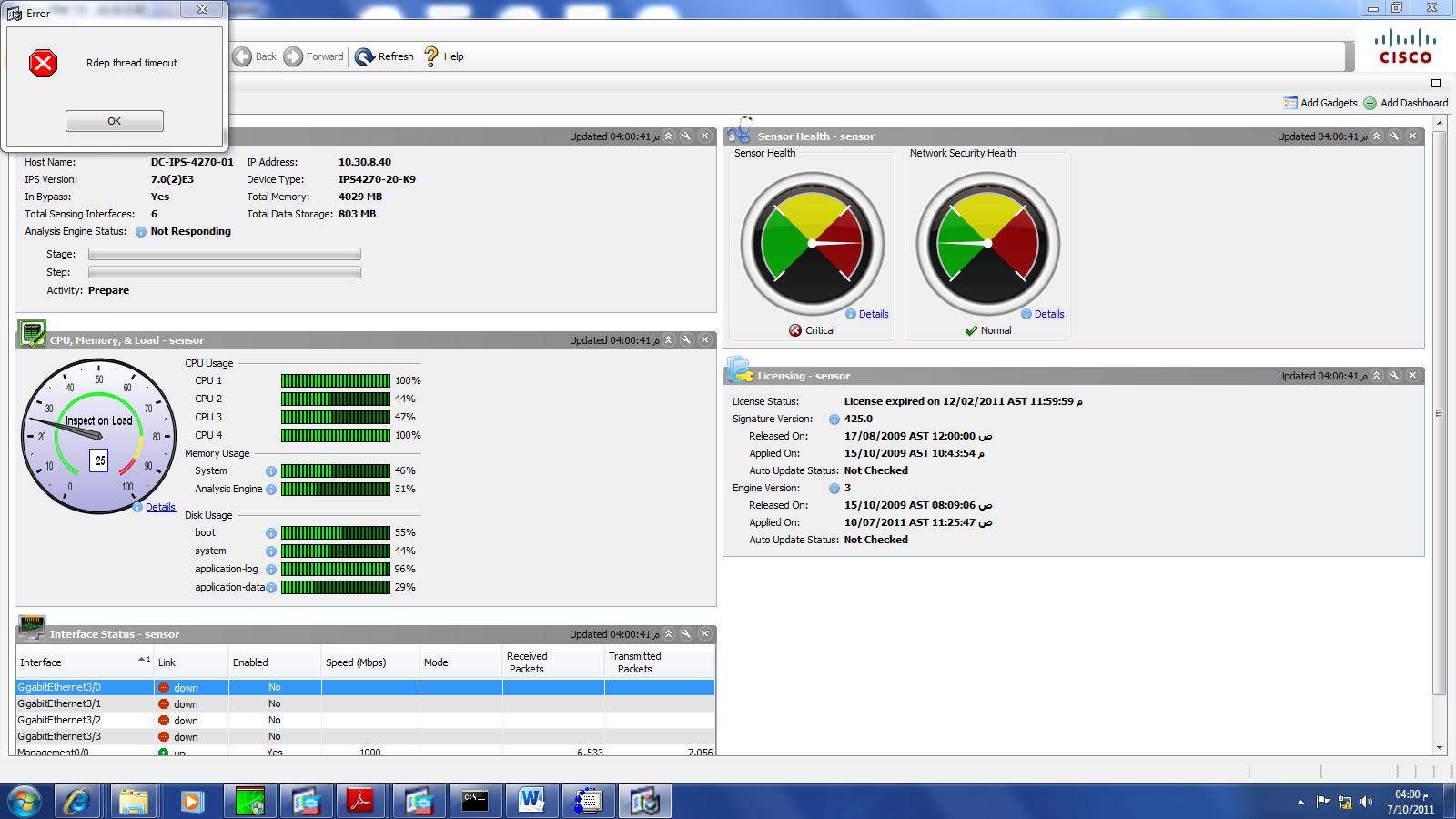 cisco ips 4270 cpu 100% utilization... | Intrusion Prevention Systems ...