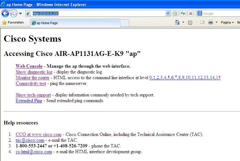 AIR-AP1131AG-E-K9 has no web interface - Cisco Community