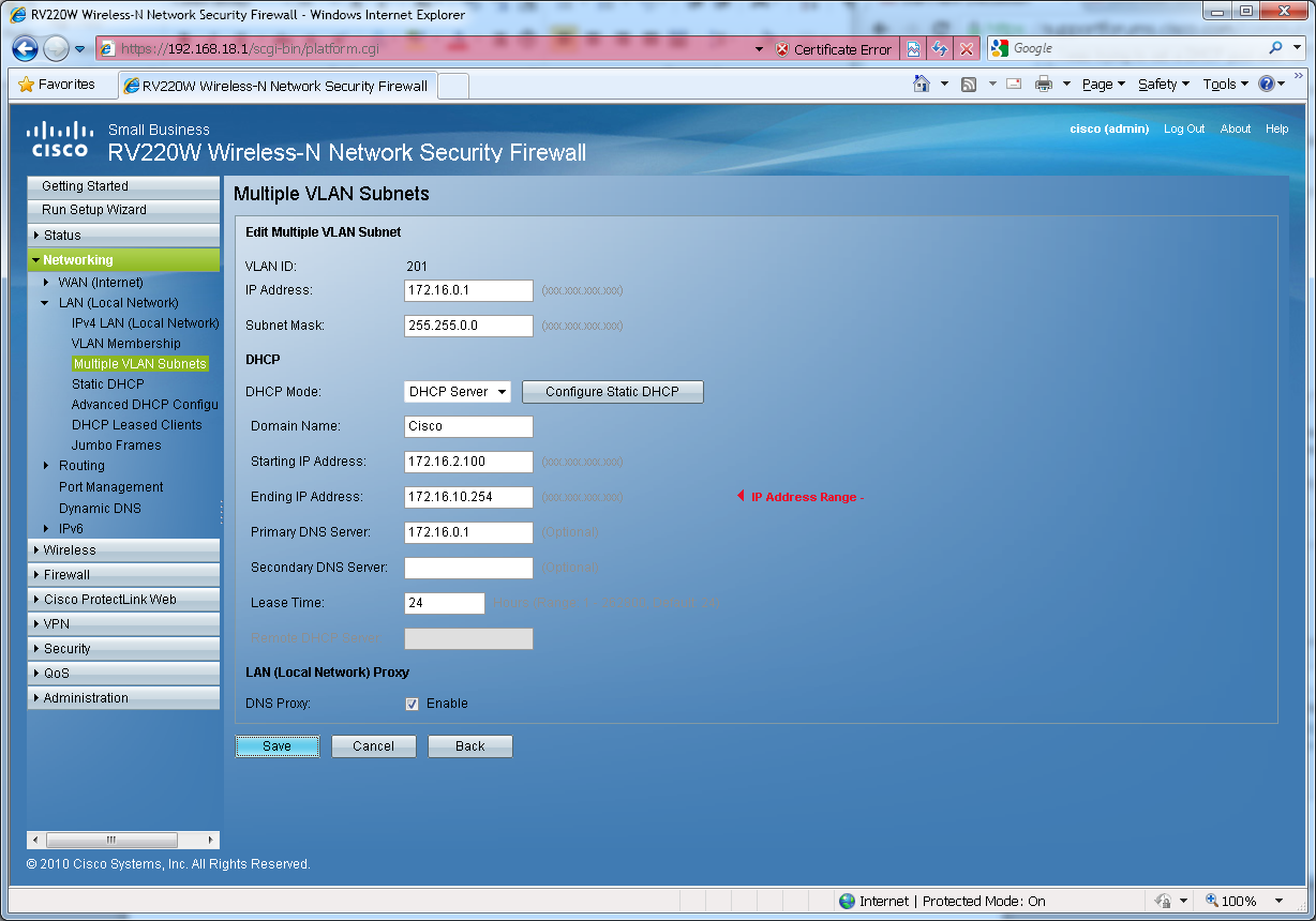 Rv220w built in dhcp server can 39 t save class b ip address for Cisco show pool dhcp