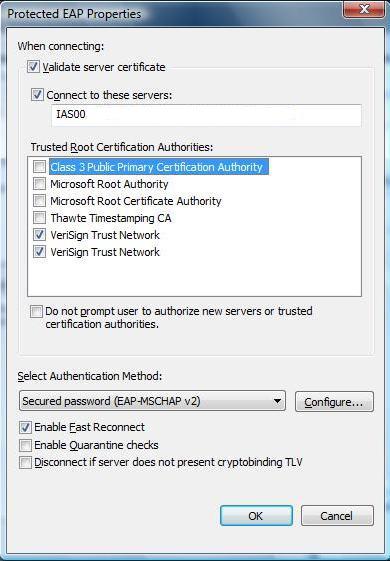 Windows xp wireless validating server certificate