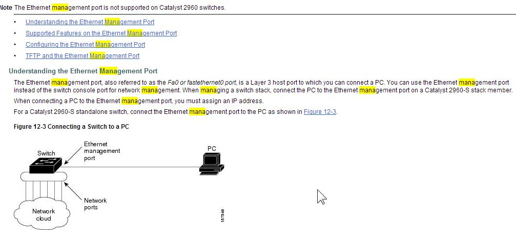 Solved: management port for management switch(2    - Cisco Community