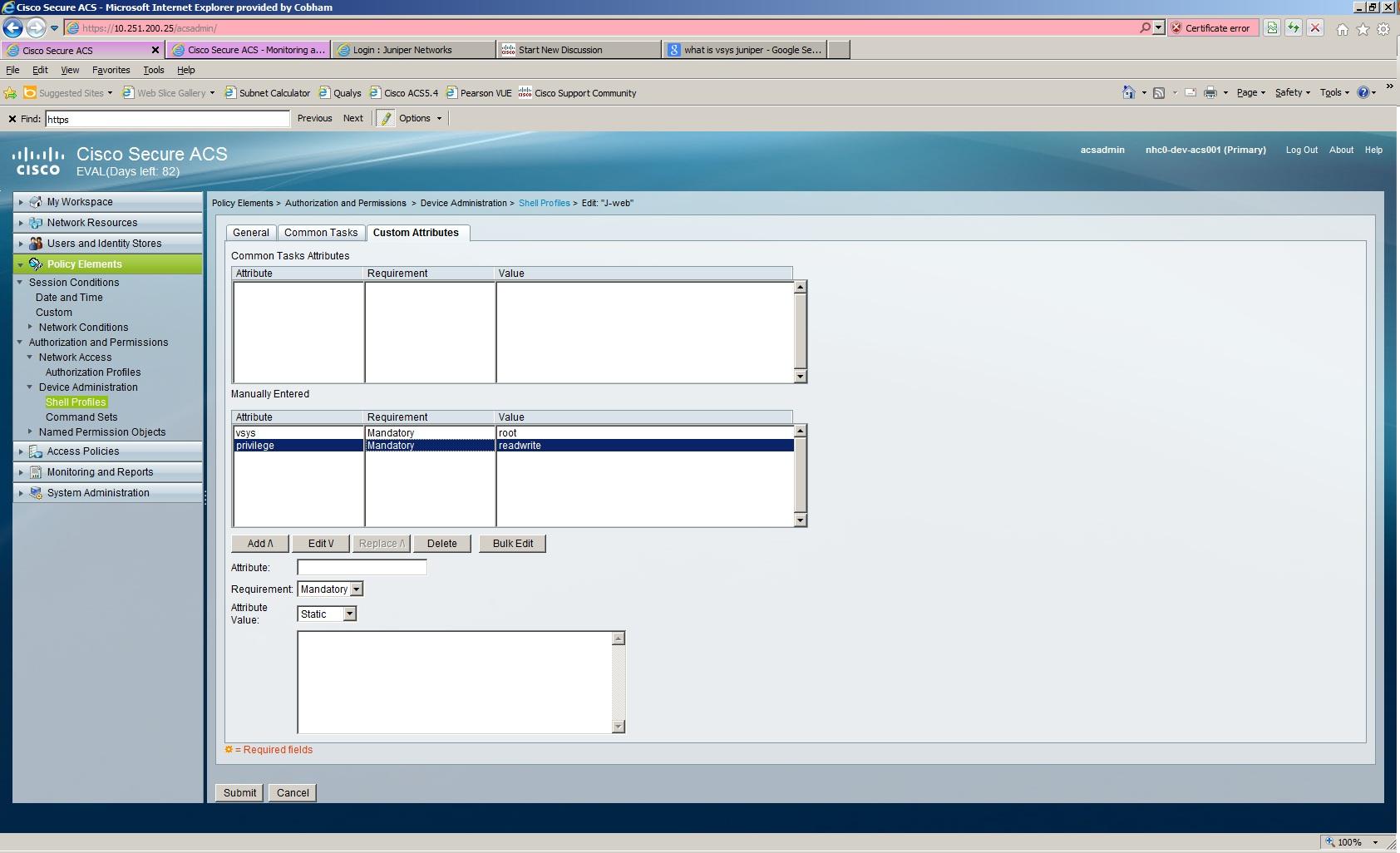 Solved: ACS 5 4 and Juniper J-Web - Cisco Community