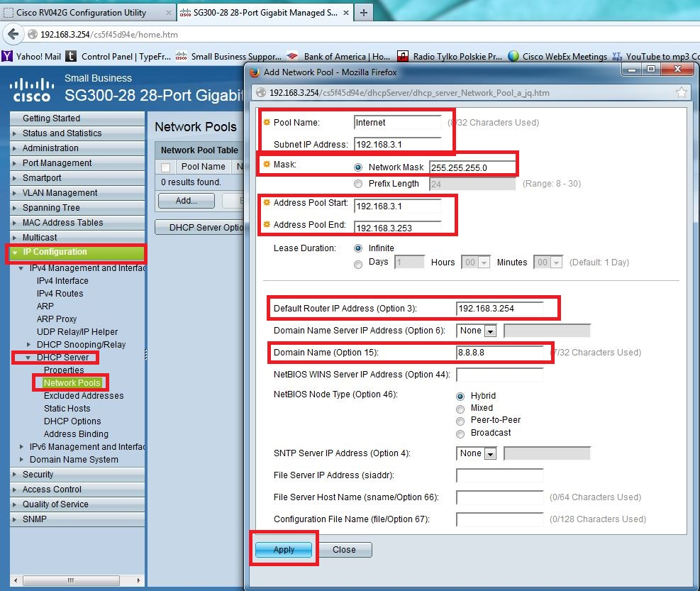 Rv042 082 016 with sx300 500 switch open discussion for Cisco show pool dhcp