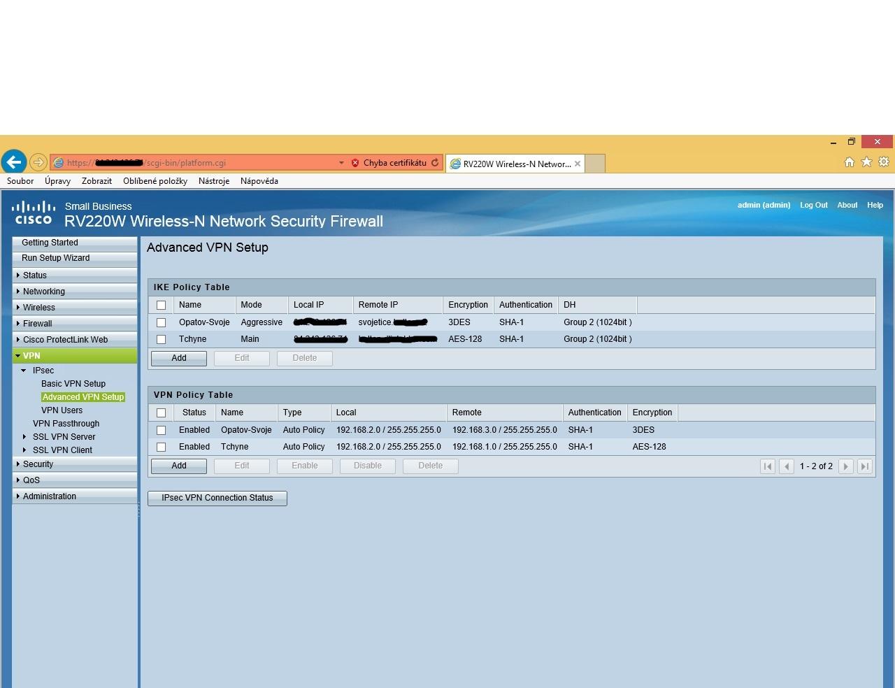 ipsec vpn between rv220w and rv180 give cisco community rh community cisco com RV220W SSL VPN Setup RV220W Problem