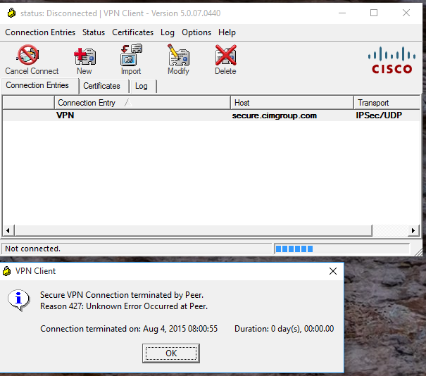 CISCO VPN Client 5.0.07.0440 not working after Upgraded to Windows 10