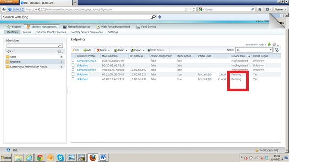 ISE Using my device Portal , devices st    - Cisco Community