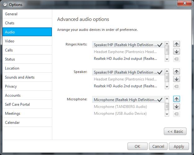 Jabber for Windows Audio Setting Method 3
