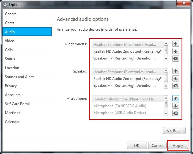 Jabber for Windows Audio Setting Method 5
