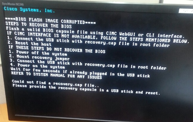 Cisco UCS C240 M3 BIOS Flash Image corrupt - eehelp com