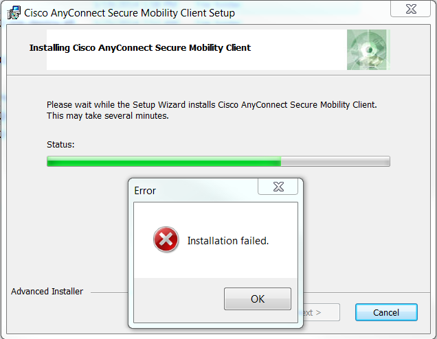 installation basée sur le Web cisco anyconnect vpn a échoué