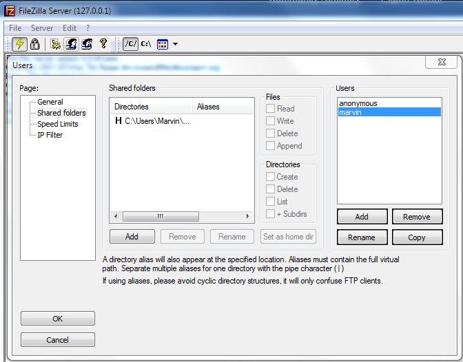 FileZilla User Accounts
