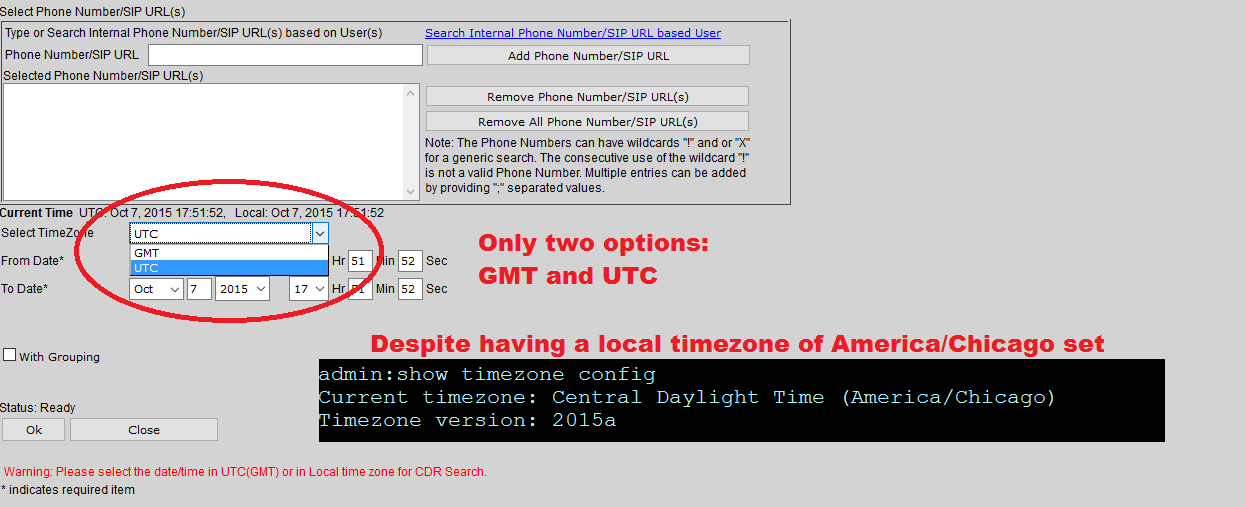 Solved: CDR Search Select TimeZone Doesnt Show     - Cisco Community