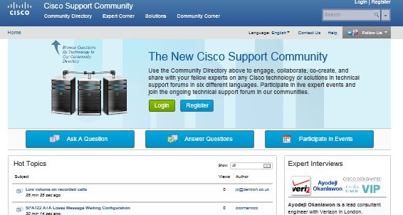 Cisco Support Community Home Page - Ask a Question