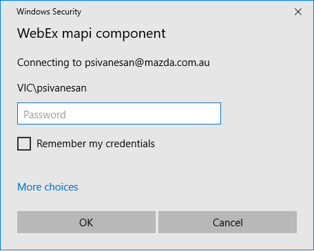 Webex Mapi Component login prompt - Cisco Community