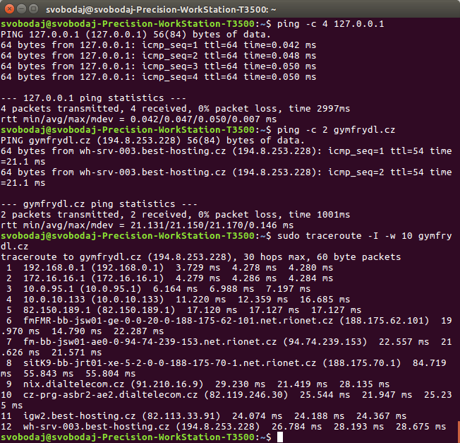 Terminal: ping's TTL and traceroute